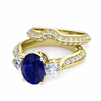 Vintage Inspired Diamond and Sapphire Three Stone Ring Bridal Set in 18k Gold, 7x5mm