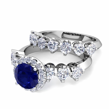 Bridal Set of Crown Set Diamond and Sapphire Engagement Wedding Ring in Platinum, 7mm