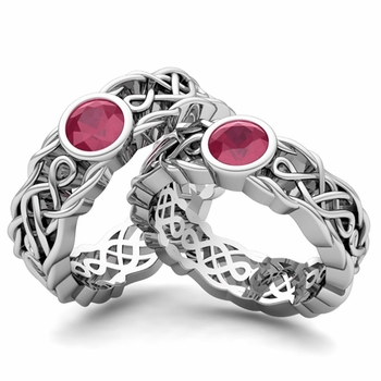 Matching Wedding Band in Platinum Solitaire Ruby Ring