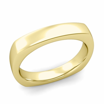 Square Comfort Fit Wedding Ring in 18K Gold Polished Band, 4mm