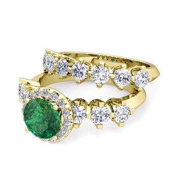 Bridal Set of Crown Set Diamond and Emerald Engagement Wedding Ring in 18k Gold, 7mm