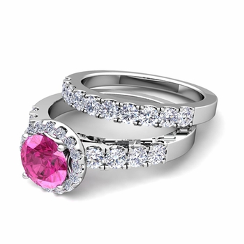 Halo Bridal Set: Pave Diamond and Pink Sapphire Wedding Ring Set in Platinum, 7mm