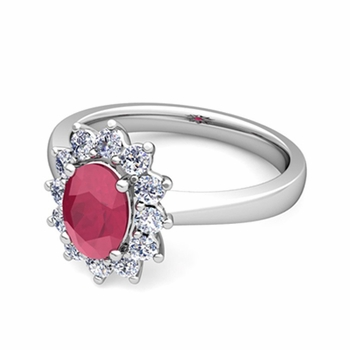 Brilliant Diamond and Ruby Diana Engagement Ring in Platinum, 9x7mm