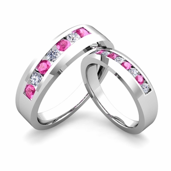 His and Hers Matching Wedding Band in Platinum Channel Set Diamond and Pink Sapphire Ring