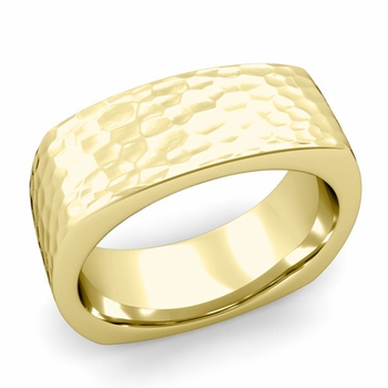 Square Comfort Fit Wedding Ring in 18K Gold Matte Hammered Band, 8mm