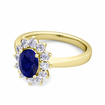 Brilliant Diamond and Blue Sapphire Diana Engagement Ring in 18k Gold, 9x7mm