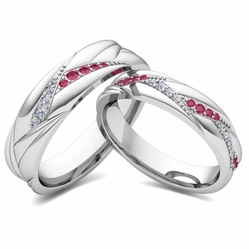 Matching Wave Wedding Band in Platinum Ruby and Diamond Ring