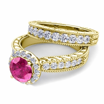 Vintage Inspired Diamond and Pink Sapphire Engagement Ring Bridal Set in 18k Gold, 7mm