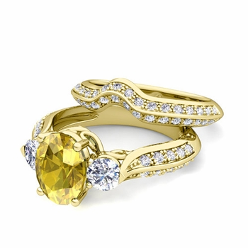 Vintage Inspired Diamond and Yellow Sapphire Three Stone Ring Bridal Set in 18k Gold, 7x5mm