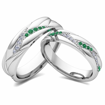 Matching Wave Wedding Band in 14k Gold Emerald and Diamond Ring