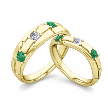 Matching Wedding Band: His and Hers Diamond and Emerald Ring in 18k Gold