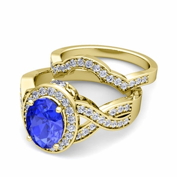 Infinity Diamond and Ceylon Sapphire Engagement Ring Bridal Set in 18k Gold, 9x7mm