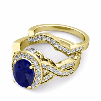 Infinity Diamond and Sapphire Engagement Ring Bridal Set in 18k Gold, 7x5mm