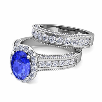 Bridal Set of Heirloom Diamond and Ceylon Sapphire Engagement Wedding Ring in 14k Gold, 7x5mm