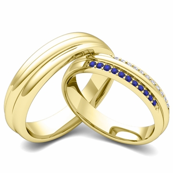Matching Wedding Band in 18k Gold Pave Diamond and Sapphire Ring
