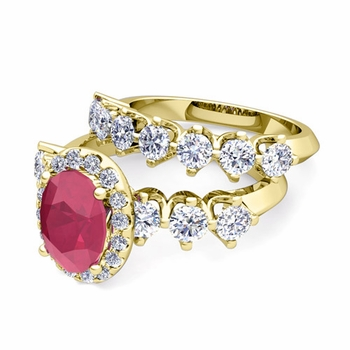 Bridal Set of Crown Set Diamond and Ruby Engagement Wedding Ring in 18k Gold, 9x7mm
