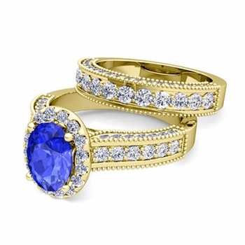 Bridal Set of Heirloom Diamond and Ceylon Sapphire Engagement Wedding Ring in 18k Gold, 7x5mm