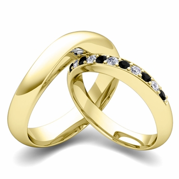 Matching Wedding Band in 18k Gold Curved Black and White Diamond Ring