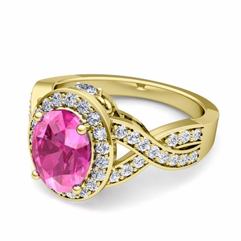 Infinity Diamond and Pink Sapphire Engagement Ring in 18k Gold, 8x6mm