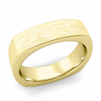 Square Comfort Fit Wedding Ring in 18K Gold Matte Brushed Band, 6mm