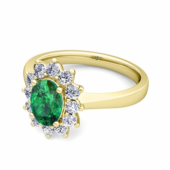 Brilliant Diamond and Emerald Diana Engagement Ring in 18k Gold, 9x7mm