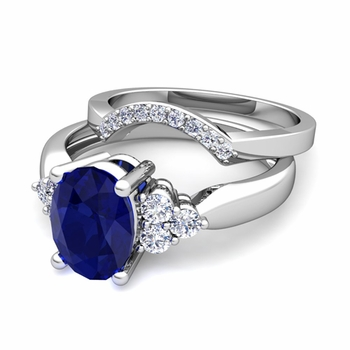 Three Stone Diamond and Sapphire Engagement Ring Bridal Set in 14k Gold, 9x7mm