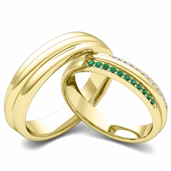 Matching Wedding Band in 18k Gold Pave Diamond and Emerald Ring