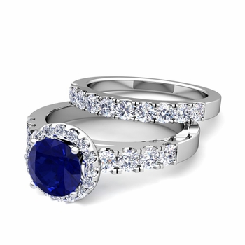 Halo Bridal Set: Pave Diamond and Sapphire Wedding Ring Set in Platinum, 7mm