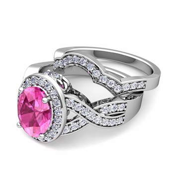 Infinity Diamond and Pink Sapphire Engagement Ring Bridal Set in Platinum, 8x6mm