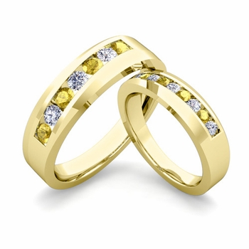 His and Hers Matching Wedding Band in 18k Gold Channel Set Diamond and Yellow Sapphire Ring