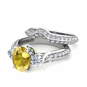 Vintage Inspired Diamond and Yellow Sapphire Three Stone Ring Bridal Set in 14k Gold, 7x5mm