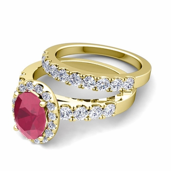 Halo Bridal Set: Pave Diamond and Ruby Wedding Ring Set in 18k Gold, 7x5mm