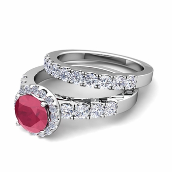 Halo Bridal Set: Pave Diamond and Ruby Wedding Ring Set in 14k Gold, 6mm
