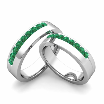 Matching Wedding Bands: Channel Set Emerald Wedding Rings in Platinum