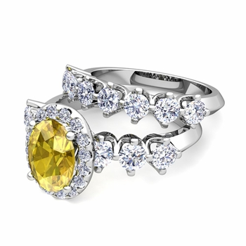 Bridal Set of Crown Set Diamond and Yellow Sapphire Engagement Wedding Ring in Platinum, 7x5mm