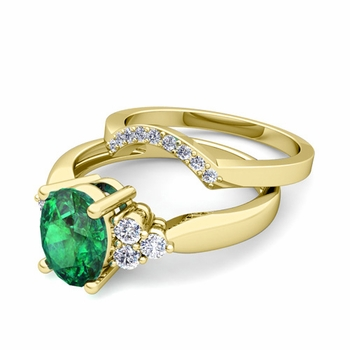 Three Stone Diamond and Emerald Engagement Ring Bridal Set in 18k Gold, 9x7mm