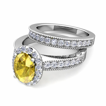 Halo Bridal Set: Milgrain Diamond and Yellow Sapphire Wedding Ring Set in 14k Gold, 7x5mm