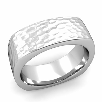 Square Comfort Fit Wedding Ring in Platinum Matte Hammered Band, 8mm