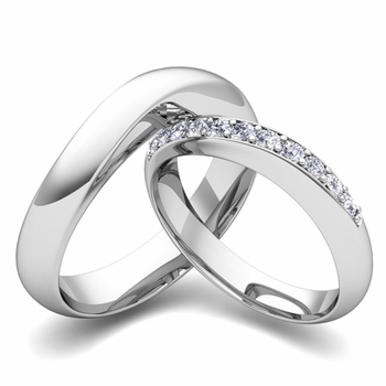 Matching Wedding Band in 14k Gold Curved Diamond Ring