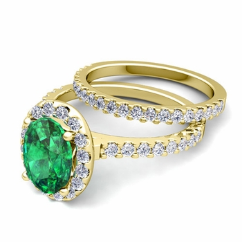 Bridal Set: Pave Diamond and Emerald Engagement Wedding Ring in 18k Gold, 7x5mm