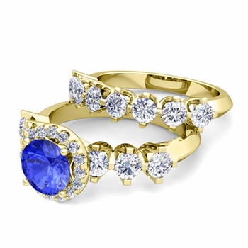 Bridal Set of Crown Set Diamond and Ceylon Sapphire Engagement Wedding Ring in 18k Gold, 7mm