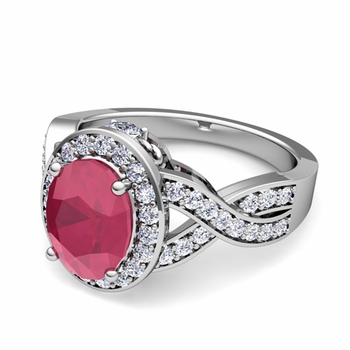 Infinity Diamond and Ruby Engagement Ring in 14k Gold, 7x5mm