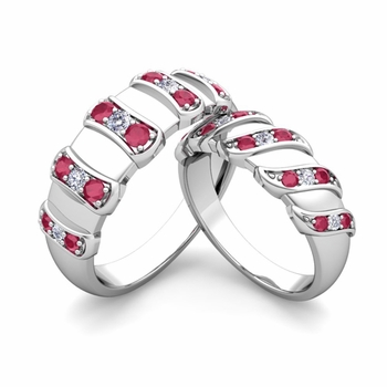 Matching Wedding Band in 14k Gold Twisted Diamond and Ruby Wedding Rings