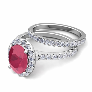 Bridal Set: Pave Diamond and Ruby Engagement Wedding Ring in Platinum, 7x5mm