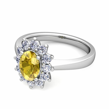 Brilliant Diamond and Yellow Sapphire Diana Engagement Ring in Platinum, 9x7mm