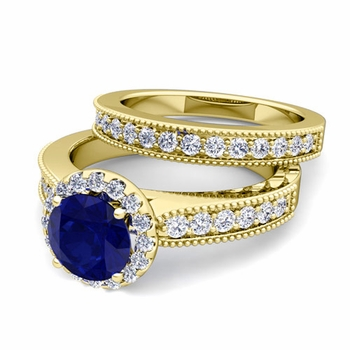 Halo Bridal Set: Milgrain Diamond and Sapphire Engagement Wedding Ring Set in 18k Gold, 7mm