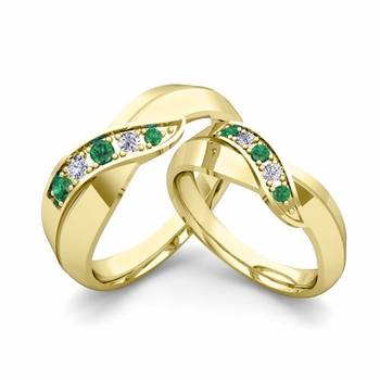 Matching Wedding Band in 18k Gold Infinity Diamond and Emerald Wedding Rings