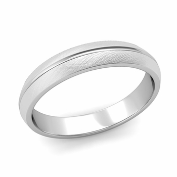Carved Comfort Fit Wedding Ring in 14k Gold Mixed Brushed Band, 4mm