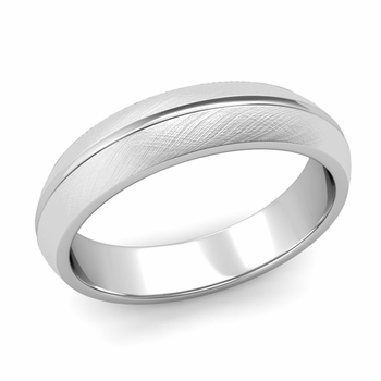 Carved Comfort Fit Wedding Ring in 14k Gold Mixed Brushed Band, 5mm