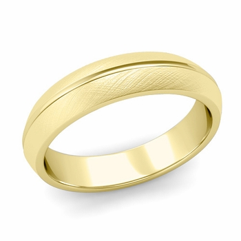 Carved Comfort Fit Wedding Ring in 18K Gold Mixed Brushed Band, 5mm